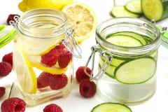 Sunt Spa vatten med frukt och grönsaken royaltyfria bilder