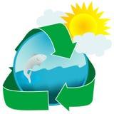 sunt symbolsvatten för ekologi Arkivbild
