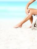 suntan солнцезащитного крема лосьона стоковое фото