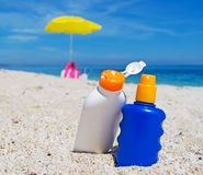 Suntan lotion bottles Stock Image