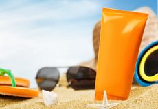 Suntan Lotion, Sunglasses, Moisturizer Stock Images