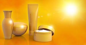 Suntan lotions on sunny background Stock Photos