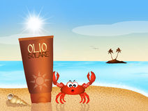 Suntan oil. Illustration of suntan oil on the beach Stock Image