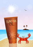 Suntan oil. Illustration of suntan oil on the beach Stock Photos