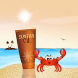 Suntan oil in summer. Illustrtion of suntan oil in summer Stock Images