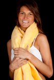 Suntan woman in lingerie with yellow towel Stock Photography