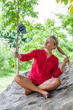 Suntanned 20s woman posing for outdoors selfy and vacation memories Royalty Free Stock Photos