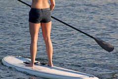 Suntanned Stand Up Paddle Boarder Woman. The beautiful torso,butt and legs of a suntanned paddle boarder wearing short black jeans with a paddle, paddle board Stock Photos