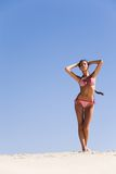 Suntanned woman. Portrait of suntanned woman standing on the sand Stock Photos