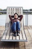 Suntanning di autunno Fotografie Stock