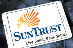 SunTrust bank logo. Logo of SunTrust bank on samsung tablet Royalty Free Stock Photography
