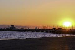 Suntset à St Kilda Pier image libre de droits