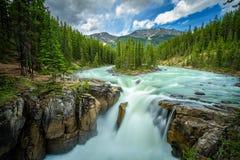 Sunwapta Falls in Jasper National Park, Canada. Upper Sunwapta Falls in Jasper National Park, Canada. The water originates from the Athabasca Glacier. Long Stock Photos
