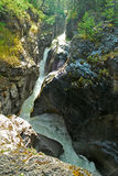 Sunwapta River, Alberta, Canada. The river crashes through a narrow gorge. It's snow fed torrent is higest in Spring Royalty Free Stock Photography