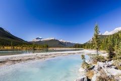 Sunwapta River, Jasper National Park in Alberta, Canada. The Sunwapta River is a major tributary of the Athabasca River in Jasper National Park in Alberta Stock Image