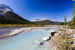 Sunwapta River, Jasper National Park in Alberta, Canada. The Sunwapta River is a major tributary of the Athabasca River in Jasper National Park in Alberta Stock Photography