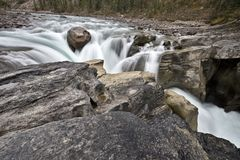 Sunwapta Waterfall Alberta Canada Stock Images