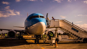 Sunwingsvliegtuig Stock Afbeelding
