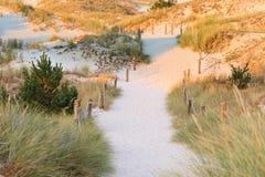 Desert road in Czołpino dunes stock photography