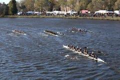 SUNY Geneseo, Colorado, JWU Rowing, Illinois races ,. BOSTON - OCTOBER 23, 2016: SUNY Geneseo (top left) Colorado  (top middle)JWU Rowing (top right) Illinois( Royalty Free Stock Images