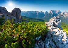 Suny summer scene of the Cristallo group range. In National Park Tre Cime di Lavaredo. Dolomites, South Tyrol. Location Auronzo, Italy, Europe Stock Photos
