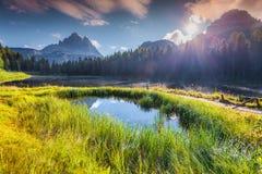 Suny summer scene on the Lake Antorno. And Tre Cime of Lavaredo south face in Italy Alps, Tre Cime Di Lavaredo, Dolomites, Europe Royalty Free Stock Photography