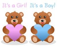 Suo un orso dell'orsacchiotto del ragazzo e della ragazza Fotografie Stock