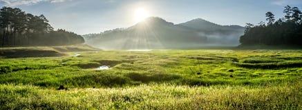 Suoi近Tia Ho Tuyen Lam湖,大叻市全景城市,越南 库存图片