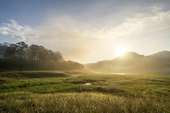 Suoi近Tia Ho Tuyen Lam湖,大叻市风景城市,越南 库存图片