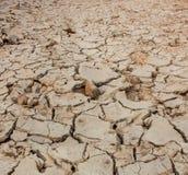 Suolo della crepa sul periodo di siccità, effetto di riscaldamento globale Fotografia Stock Libera da Diritti