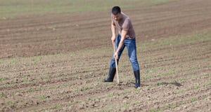 Suolo di zappatura dell'agricoltore Fotografia Stock Libera da Diritti