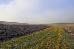 Suolo e sentiero per pedoni ghiacciati dell'aratro Immagini Stock Libere da Diritti
