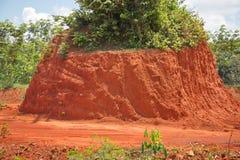 Suolo rosso per la strada o il mattone di costruzione Fotografia Stock