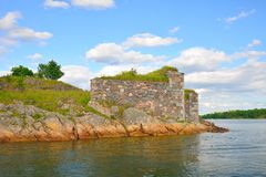 Suomenlinna fortress ruins view from a boat royalty free stock images