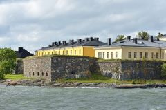 Suomenlinna Sveaborg fortress. Constructing began in 1748. Unapproachable Fortress Wall of Pikku-Musta island, Finnish naval aca Stock Images