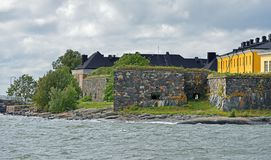 Suomenlinna Sveaborg fortress. Constructing began in 1748.Unapproachable Fortress Wall of Pikku-Musta island, Finnish naval acad Stock Photo
