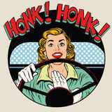 Suoni il clacson la donna dell'autista del corno del veicolo Fotografie Stock
