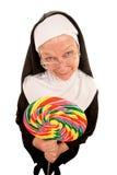Suora divertente con il lollipop Immagini Stock