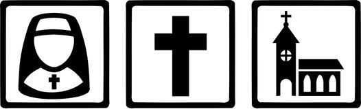 Suora religiosa Cross Church delle icone dei segni royalty illustrazione gratis