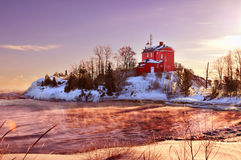 Supérieur de Marquette Harbor Lighthouse On Lake, la péninsule supérieure du Michigan photos libres de droits