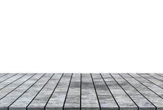 Supérieur de table en bois vide d'isolement sur le fond blanc photographie stock libre de droits