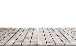 Supérieur de table en bois vide d'isolement sur le fond blanc images stock