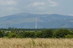 Supérieur majestueux de montagne envahi avec la forêt, le champ de blé mûr et la clairière d'herbe, balkan central, Stara Planina Images stock
