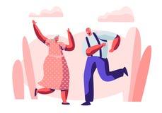 Supérieurs couple le temps libre avec la danse, le mode de vie actif des personnes âgées, le vieil homme et la femme dans des rel illustration libre de droits