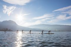 SUP board race in France Alps lake Annecy. Sunny winter day. Professional sport event royalty free stock photography