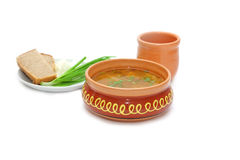 Sup in clay plate Stock Photo