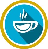 Cup of coffee logo and template. This is the logo of a cup of coffee, plenty of time relaxing while drinking a glass of coffee Stock Image