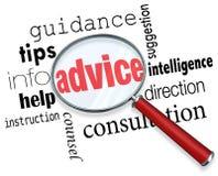 Sup för information om hjälp för spetsar för vägledning för rådgivningförstoringsglasord Royaltyfri Fotografi