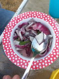 Sup fresco casalingo della cipolla dai bambini Fotografia Stock Libera da Diritti