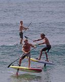 SUP Hydrofoil. Event: Buffalo Big Board Surfing Classic Location: offshore Makaha Beach Park, island of O`ahu, Hawai`i, USA 19.II.17 Subject: Foreground Laird stock images